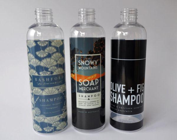 3 shampoo bottles