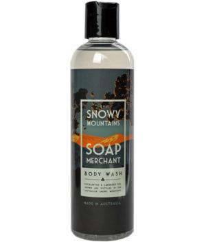 bottle of snowy mountains soap merchant body wash