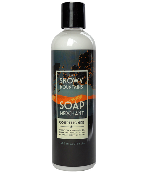 bottle of snowy mountains soap merchant conditioner